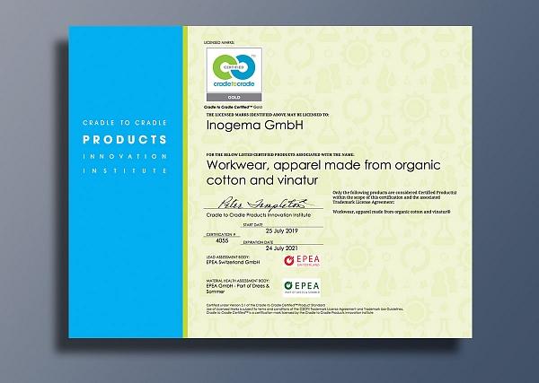Inogema erhält mit seiner Marke Vinatur® C2C Gold Zertifizierung mit Material Health Platin