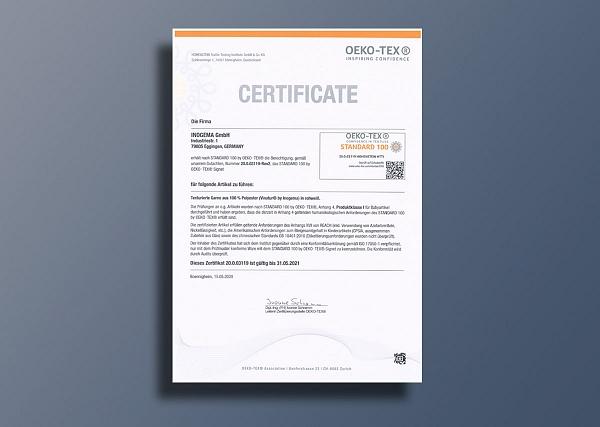 OEKO-TEX® 100 certificate for Vinatur® yarns
