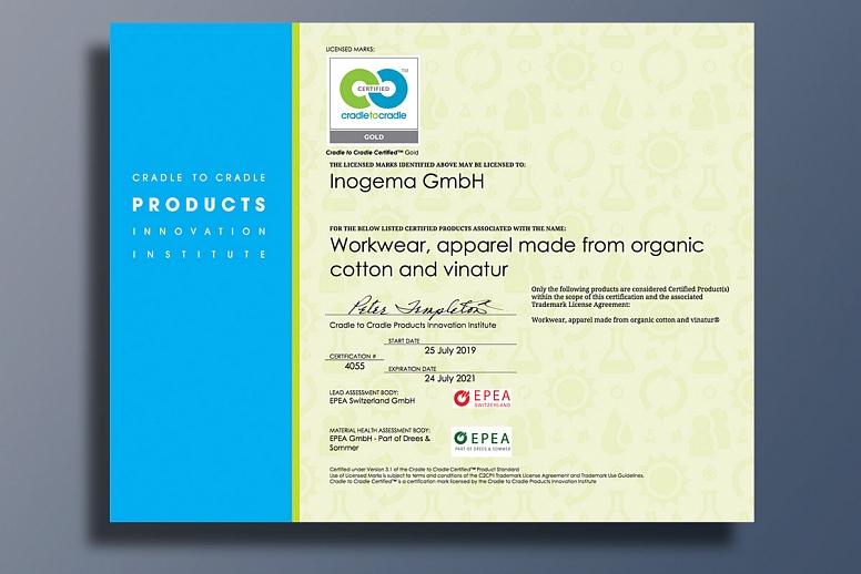 Inogema's Vinatur® C2C Gold brand receives Material Health Platinum certification